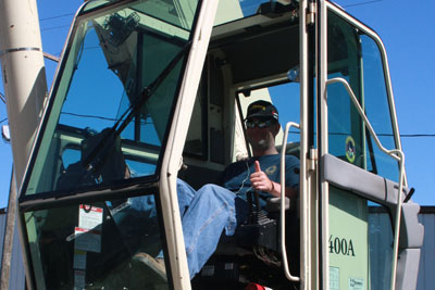 Our crane operator Keith Murphy