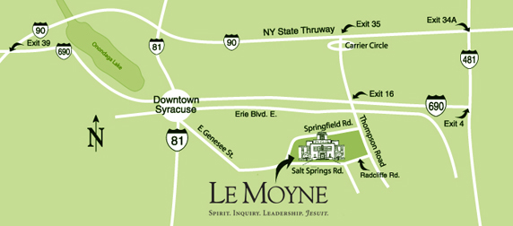 Syracuse City Map - Le Moyne College location